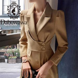 Dabuwawa Elegant Office Lady Autumn Winter Long Coat Women Solid Outwear Belt Coats Outfits Puff Sleeve Pocket DT1DLN011