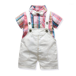 Toddler Baby Boys Clothes Infant Kids Short Sleeve Sets New Fashion Plaid Shirt Overalls 3 Pcs Children Costume Party Dress1