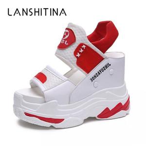 Летние женские сандалии черный клин каблуки кроссовки лето Peep Toe высокие каблуки платформы белые флип-флопы толстые днищие сандалии Y200107