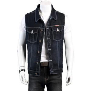 Idopy Plus Size Denim Vest L-8XL Stretchy High Quality Jeans Vest Waistcoat Sleeveless Denim Jacket For Man