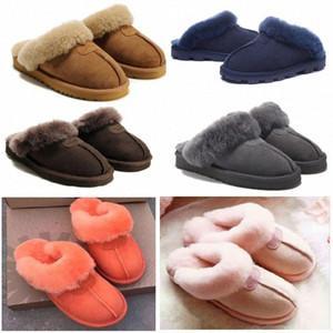 Hot New Sell Classic Design Warme Hausschuhe Ziege Haut Schaffell Schnee Stiefel Martin Stiefel Kurzfrauen Stiefel Halten Warme Schuhe Baumwolle Slipper L6F2 #
