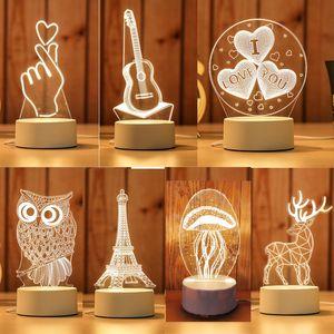 Lámpara LED 3D creativa 3D LED luces nocturnas novedad ilusión noche lámpara de mesa de ilusión 3D para la luz decorativa del hogar