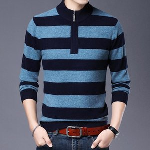 Winter Pure 100% Soft Wool Sweater Fashion Striped Zipper Jumper Male Warm Thick Sweaters Pullover