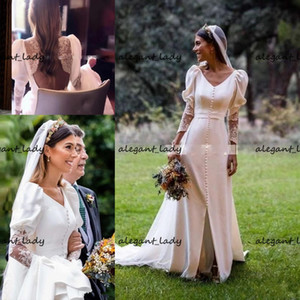 Vintage Long Sleeves Wedding Dresses With Buttons Lace Appliques Deep V Neck Vestido De Novia Cheap Sexy Backless country Bridal Dress