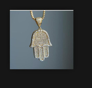 High quality hip-hop bling box chain 24 inches for women and men, golden silver smoothie Hamsa hand pendant necklace, birthday gift