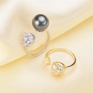 İnci Yüzük Ayarları, Moda Yüzük Bulguları, Ayarlanabilir Boyutu 925 Gümüş Takı DIY Yapma Hiçbir Pearl Ücretsiz Kargo1