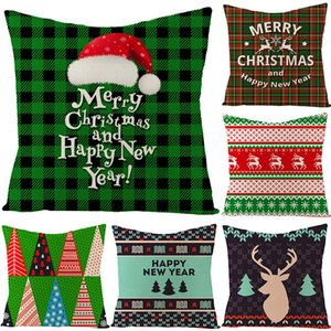 45*45cm Pillow Case Christmas Decorations For Home Santa Clause Christmas Deer Cotton Linen Cushion Cover Home Decor YYB2944