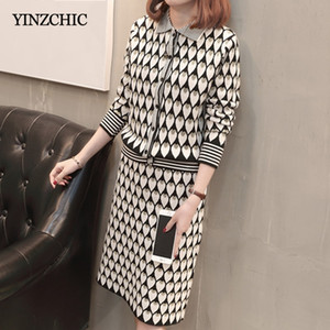 Fashion Jaquard Woman Knit Two-pieces Set Casual Female Single Breasted Sweater + Pencil Skirt Sets Autumn Knitted Suits Warm 201123