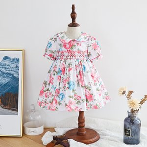 Toddler Girl Smocked Floral Dress infant Smocked Frocks Children Spanish Boutique Gown Baby Girl Spain Handmade Smocking Dress Z1127