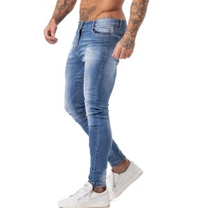 GINGTTO Mens Skinny Jeans Slim Fit Ripped Jeans Big and Tall Stretch Blue Jeans for Men Distressed Elastic Waist Mens Jeanszm131 Q0105