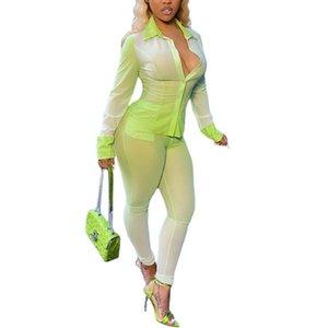DEWADBOW Gradient Peinture Tenue de peinture Femme Streetwear Printemps 2021 Bouton Button Up Chemises et Pantalons à glissière longue Élégante Cuisson de sueur