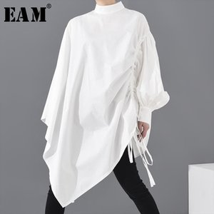 [EAM] Women White Drawstring Big Size Blouse New Stand Collar Long Sleeve Loose Fit Shirt Fashion Spring Summer 2020 1S22900