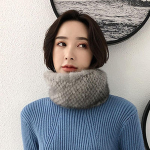 Women's Real Scarves Lady Winter Thick Warm Real Fur Shawl Natural Fur Muffler Snood S7703