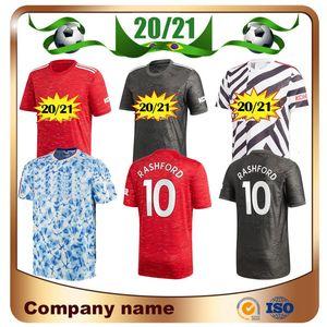 20/21 United Rashford Pogba 홈 레드 축구 유니폼 2020 루카쿠 멀리 축구 셔츠 James Mata Lingard 무술 축구 유니파이어