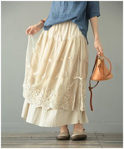 skirts womens 2021 Embroidery floral elastic waist solid skirt