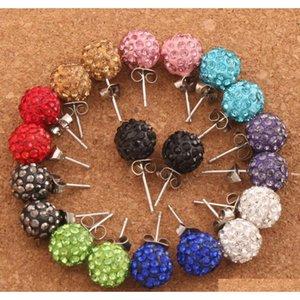 30pairs / los 10mm Pave Disco Ball Runde Perlen Tschechische Kristallstöcke 10 Farben Neue Ohrringe Hip Hop JNE4T