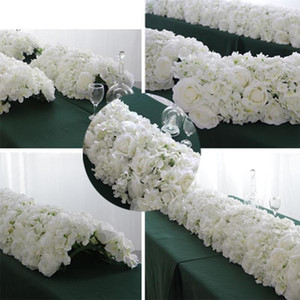 60 55CM White Artificial Flower Row With Plastic Green Mesh Base Wedding Props Decoration Window Event Party Table