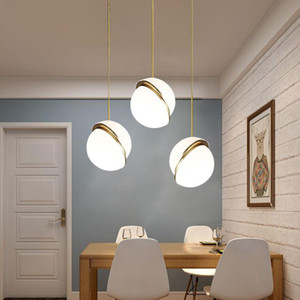 Simple Nordic White Round Balls Pendant Lights Creative Round Moon Brass Suspension Pendant Lamp For Dining Room Living Room Droplight