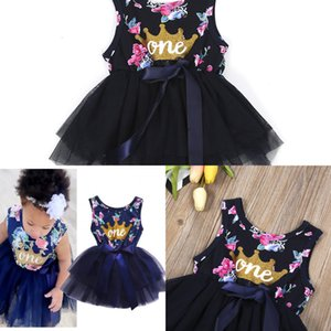 Girls Top Kid Princess Baby Dress Topborn Infant Baby Girl Clothes Purple Floral Crown Print Tutu Ball Gown Party Dresses