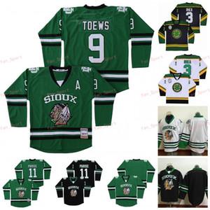 Colégio North Dakota Lutando Sioux Jersey 9 Jonathan Toovs 11 Zach Parise Hockey Ross O chefe Rhea 3 Shamrocks Verde Preto