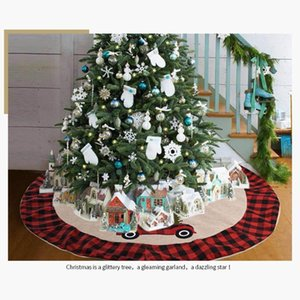 Universal Christmas Tree Skirt Car Print Xmas Tree Ornaments Checked Ege Festive Holiday Party Props
