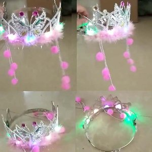 Creative LED Light Up Glow Feather Crown Headband Qing Dynasty Princess Flashing Hair Band Children Girls Party Headwear