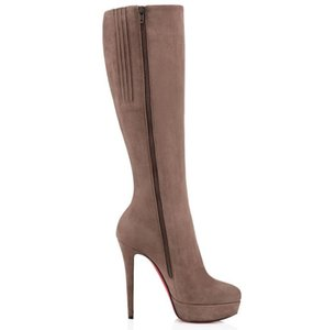 Tall Boots For Ladies Winter Sexy Fashion Tall Boots In Brand Red Bottom Shoes Turelaboot Alta Eloise ankle boots Thin Thick Heels Black