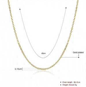 High Quality 18K Gold Plated Rolo Chains Necklaces Fashion 1.5MM 18 inch DIY Pendant Brass Necklace fine Jewelry for women girls