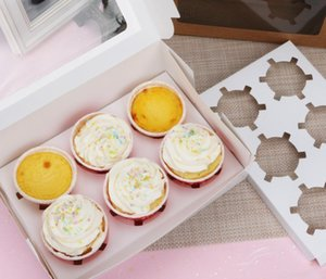 2020 Windowed Cupcake Boxes White Brown Kraft Paper Box Gift Packaging For Wedding Festival Party 6 Cup Cake sqcZDe dh_seller2010
