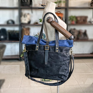 5005 Waxed Canvas Tote Bags For Women Leather Handbag Waterproof Shoulder Bag 2020 Roll Top Crossbody Bags Designer