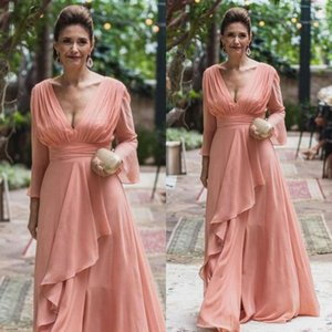 Elegant Chiffon A-Line Mother of the Bride Dresses V Neck Long Sleeves Ruffles Ladies Formal Evening Prom Party Gowns