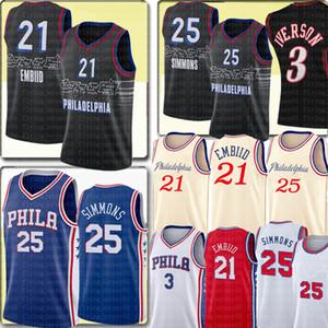 Top Joel 21 Embiid Jersey Ben 25 Simmons Allen 3 Iverson Jersey Stickerei Retro Mesh Allen 3 Iverson Basketball Trikots