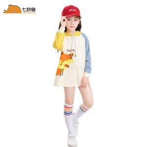 Mädchen Langarm Tops 2020 Frühling Kleinkind Mädchen Hemden 2-8 Jahre T-Shirt Fille Tier Druck T-Shirt Baumwolle 7 Sekunden Fischmarke Y200704