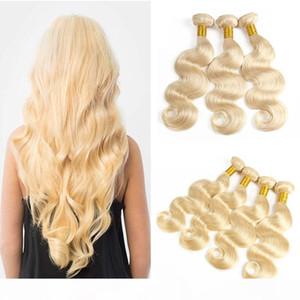 Малайзийские блондинки человеческие волосы плетение пучка чистого цвета # 613 Platinum Bleach Blonde оптом Малайзийская волна тела человеческих волос
