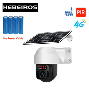 Hebeiros 360 Outdoor GSM 4G SIM Card PTZ Camera 1080P Solar Power Battery IP Camera PIR Audio Wireless Surveillance CCTV