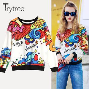 Trytree Summer Autumn Women Sweatshirts Streetwear Floral Polyester O-neck Pullovers Full Sleeve Casual groot Tops Sweatshirts LJ201120