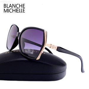 Frauen Blanche Michelle Hohe Qualität Sonnenbrille Übergroße Polarisierte UV400 Oculos de Sol Gradienten Fahren Sonnenbrille mit Kasten