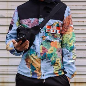 مصمم الأزياء هوديي رجل سترة الملابس القبعة انفصال خريطة العسكرية جاكيتات عاكسة مقنعين أسود رجل هوديس noctilucent حجم m-xxl