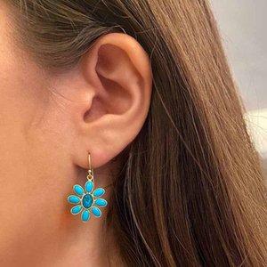 NPKDS Europe und Amerika Stil blau Cubic Zirkonia Blaue Blume Ohrringe für Frauen Inlaid Blue Zirkon Ohrringe All-Match-Schmuck