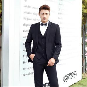 Black groom wedding suits for men blazer boys prom suits mens slim latest coat pant designs singer stage vest + pant + coat