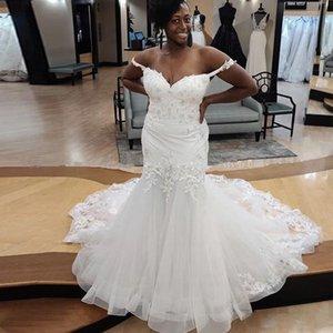 Mermaid Wedding Dresses African Bridal Wedding Gowns Sweetheart Off the Shoulder Lace Appliques Elegant Bride Wedding Wear