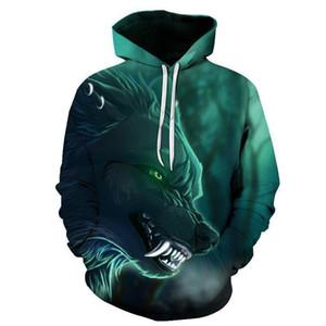 2020 New Design Mens Hoodies 3D Print Wolf Hoodie Man Fashion Brand Casual Hoodie Sweatshirt Hip Hop Male Hoody Tracksuit Autumn
