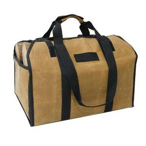 2in1 Waterproof Waxed Canvas Firewood Log Carry Bag Durable Storage Bag Outdoor EDF88