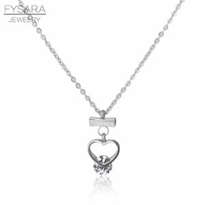 Fysara Rose Gold Color Short Necklace Pendant Heart Crystal Collar Love Jewelry Trendy Wedding Chain Necklace For Women sqcFFe