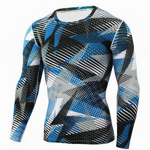 2020 Mens Compression Shirts Bodybuilding Skin Tight Long Sleeves Jerseys Clothings Crossfit Exercise Workout Fitness Sportswear