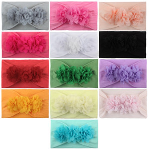 15cm Fashion Baby Headband Chiffon Flower Soft Hair Band Nylon Cute Princess Elastic Hairs Accessories Pure Color Children Home 2 6ml G2
