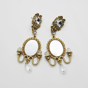 European and American fashion Baroque crystal chandelier earrings geometric long earrings female crystal 1343