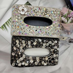 Bling Diamond Camellia Car Tissue Box Interior Paper Holder Pumping Case Tray Decoration Fashion Seat Car Napkin For Home Office