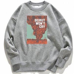 Beyrouth ne va pas crier Vintage imprimer Sweats à capuche pour femmes Mignon Col Sweat-shirt automne Chaud Pull à capuche Casual Femmes Vêtements Nouveau # HU2D