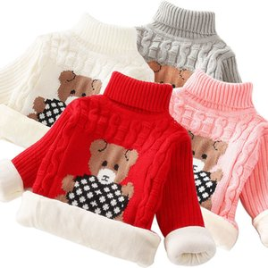 Winter Warm Baby Sweaters For Girls Pullovers Fashion Autumn Cartoon Turtleneck Knitted Boys Kids Sweaters Children Clothes 2-7Y F1203